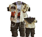Baby outerwear+Long Sleeve T Shirt+long Pants set boys clothing bear Top Sale