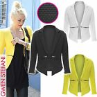 NEW LADIES BRIGHT NEON BLAZER WOMEN LONG SLEEVE ZIP WATERFALL OPEN JACKET TOP