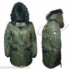 Ladies Womens Fleece Lined Fur Hooded Military Zip Fishtail Parka Jacket Coat