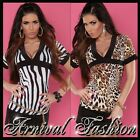 NEW SEXY V NECK animal print TOP size 6 8 10 short sleeve blouse SHIRTS XS S M
