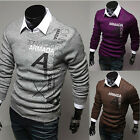 New Men's Cosie Hitz Slim Letters Printed Pattern Long-sleeve Sweater Tops AU JR