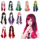 New Fashion Wavy Cosplay Wig Lolita Women Long Curly Full Hair Wigs Multi-Colors