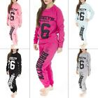 New Womens Ladies Quilted Brooklyn 76 Tracksuit  Sweatshirt & Joggers Size 8 10