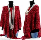 CharlesElie94 BENEDICTE Women's Leopard Print Red Knitted Poncho Cape AU 10-20
