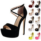 NEW LADIES BUCKLED WOMENS OPEN TOE PLATFORM HIGH HEEL STILETTO SHOES SIZE 3-8