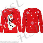 WOMENS LADIES GIRLS OLAF SNOWMAN FROZEN KNITTED CHRISTMAS JUMPER WITH 3D NOSE