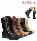 Soda Stylish Low Heel Lace Up Zipper Mid Calf  Combat Boot  Shoes Size 5.5- 11