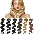 Wavy Remy Human Hair Extensions Pre Bonded Nail Kertain Tip Hair 20''100S 0.5g/s