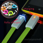 LED Light Up Micro Charger USB Data Cable Flat Cord For HTC Samsung S3 S4 Note 2