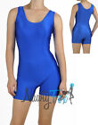 Sexy Blue Shiny Spandex Sleeveless Scoop Neck Short Unitard Biketard S-3XL