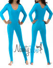 Turquoise Scoop Neck Long Sleeve Shiny Spandex 80's Disco Dance Unitard S-2XL