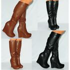 Womens Black Brown Stretch Knee High Wedged Platforms Boots Wedges High Heels