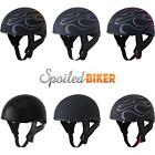 Fly .357 Naked Motorcycle Half Helmet with Sun Visor Flames and Solids DOT