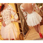 New Sexy Women Lace Splicing Gauze Hollow Embroidery Cocktail Evening Mini Dress