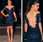 Sexy Women Embroidery Lace Hollow Bodycon Mini Short Sleeve Dress Party Cocktail
