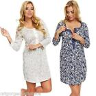 Maternity Pregnancy Breastfeeding Nursing Nightdress UK size 8 10 12 14 16