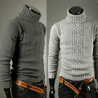 New Winter Men's Warm Long Cotton Knit Ribbed Turtleneck Slim Sweater-AU JR