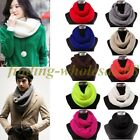 Women Winter Warm Infinity 2 Circles Cable Knit Cowl Neck Long Scarf Shawl,1Pc
