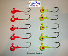5 x Jig Heads - Soft Lure Hooks - Jelly Worn Hooks - Red, Yellow, Jig Heads