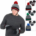 Mens Fair Isle Style Black & White Accessory Set Pompom Hat Touch Screen Gloves