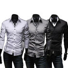 New Arrival Boy  Mens Gray Casual Slim Stylish Formal Long Sleeve Dress Shirts