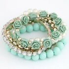 New 1 PC Unique Bohemia Roses Theme Multilayer Pearl Bracelet Jewelry, JW15