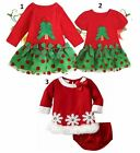 NEW BABY GIRL CHRISTMAS DRESS OUTFIT COTTON FOR HOLIDAY SANTA Sz 1T - 5T