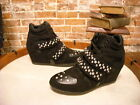 Diane Gilman Black Studded High Top Wedge Sneakers NEW