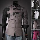 Magical Mens Slim Neckline Fashion Dress Long Sleeve Casual Shirt Wine Seller