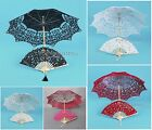 Wedding Photo Props Bridal Sun Umbrella Bridesmaid Lace Parasol Hand Fan Set NEW