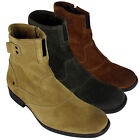 Mens Leather Base London Steel Biker Ankle Boot Burnished Suede Boots Size 7-12