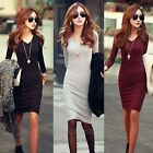 Career Women New Fashion Autumn and Winter Fitted V-Neck Knit Pencil Dress M-XXL