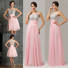 Crew Neck Beads Long /Short Prom Formal Evening Pageant Gown Wedding Party Dress