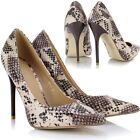 Ladies Womens Sexy Snake Animal Print Stiletto Heel Pointed Toe Court Shoes Pump