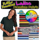 Plain or Personalised Premium WOMANS LADIES Polo Shirt YOUR TEXT work hen custom