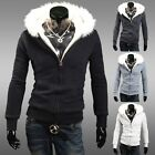 TOP LUXURY Furry Hoodies Men's Winter Coat Baseball Jacket Outwear Slim Fit Tops