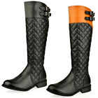 WOMENS LADIES QUILTED WINTER BUCKLE LOW HEEL RIDING KNEE HIGH CALF BOOTS SIZE