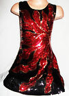GIRLS 60s BLACK RED FIRE FLAME PATTERN SEQUIN EVENING PARTY DRESS
