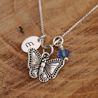 Sterling Silver Personalised 3D Butterfly Pendant Chain Necklace Birthstone /Box