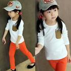 Kid Baby Boy Girl Casual Shirt Long Sleeve T-shirt Tops 2-7Y Toddler Clothes B82