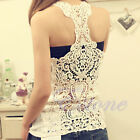 Sexy Women Flower Hollow Back Lace Cotton Cami Sleeveless T-shirt Tank Top Hot
