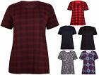 Womens Tartan Check Print Ladies Stretch Short Sleeve T-Shirt Tank Top Plus Size