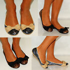 LADIES BROWN CHARCOAL GREY GLITTER BOW BALLERINAS BALLET PUMPS FLAT SHOES SIZES