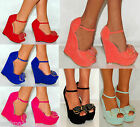 Women Suede Coral Pink Mint Green Red Platform Wedges High Heels Shoes