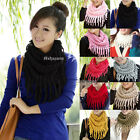 Fashion Women Winter Warm Knit Wool Snood Scarf Cowl Neck Circle Shawl Wrap