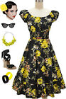 50s Style BLACK & YELLOW ROSE FLORAL PINUP Peasant Top On/Off t/Shoulder Dress