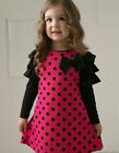 Rose Red Dots Girl Dress Princess Vintage Special Occasion Party Skirt Size 2-6
