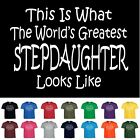 Worlds Greatest STEPDAUGHTER Birthday Christmas Gift Funny T Shirt Youth Child