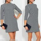 Beautiful Elegant Womens Ladies Dog Tooth Dress with 3/4 Sleeve S/M L/XL