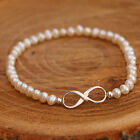 Natural White Freshwater Pearl Stretchy Bracelet Sterling Silver Infinity Lariat
